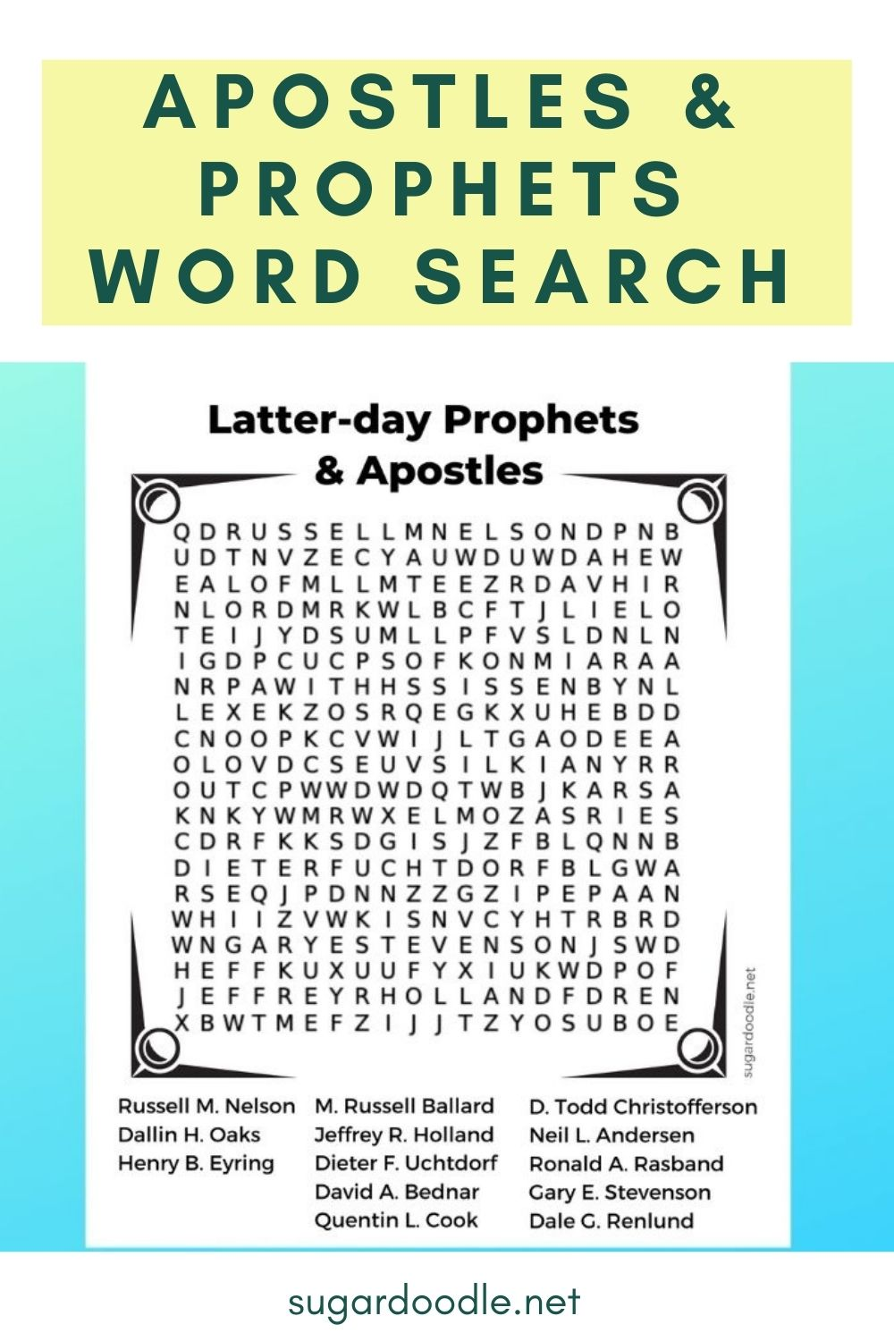 Learn the order of the Apostles and Prophets in this free printable word search. Perfect for General Conference or to supplement church lessons.